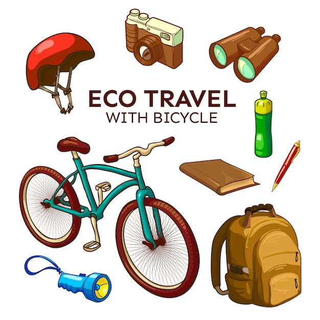 Eco bicycle travel elements set Free Vector