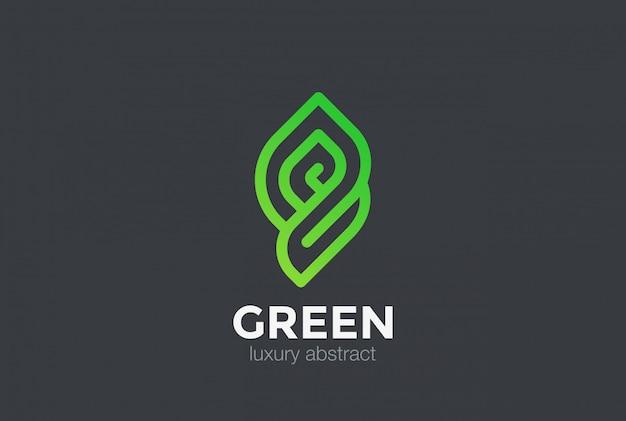 Эко био зеленый абстрактный логотип значок. линейный стиль Бесплатные векторы