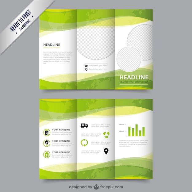 Eco Brochure Template In Green Color Vector Free Download