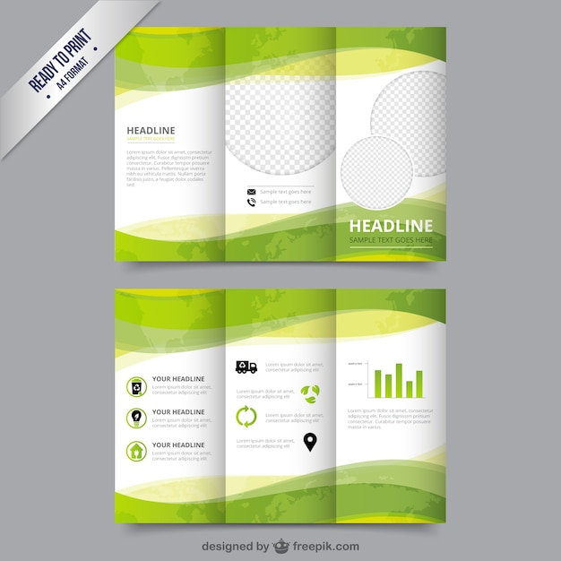 Eco brochure template in green color vector free download for Free brochure psd templates
