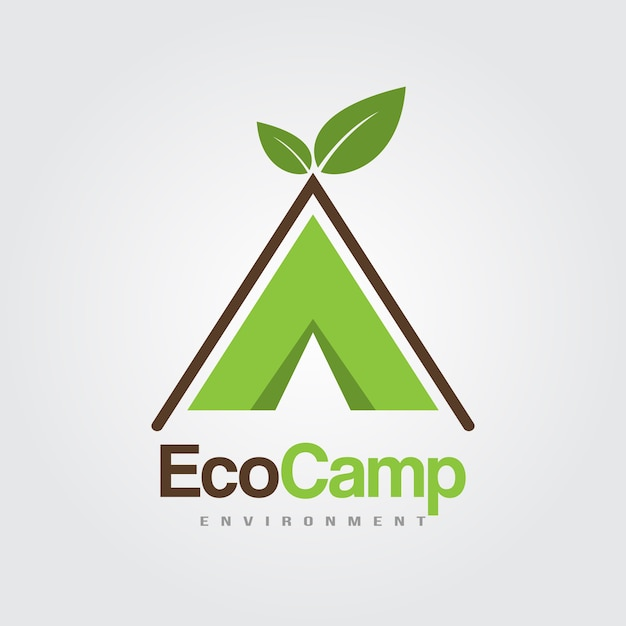 eco camp logos template tent with leaves for summer camp