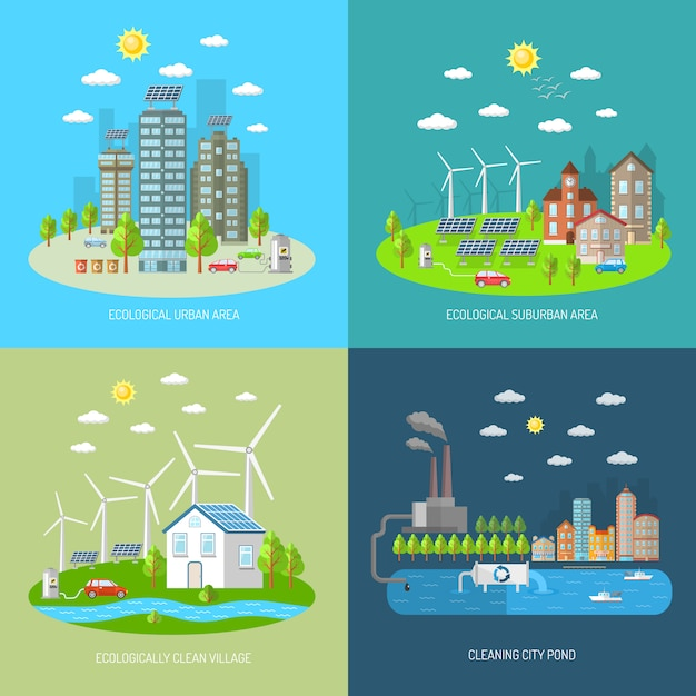 Eco city design concept set Free Vector