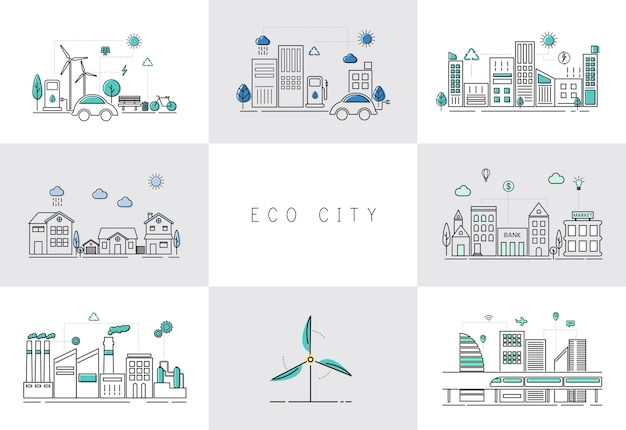 Eco city set Free Vector