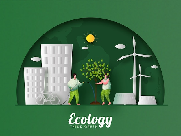 Eco city view with gardening man and woman on green paper cut half circle or globe background for ecology think concept. Premium Vector