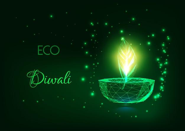 Концепция eco diwali с накаляя низкой полигональной лампой diya и зеленым листом на темноте - зеленом цвете. Premium векторы