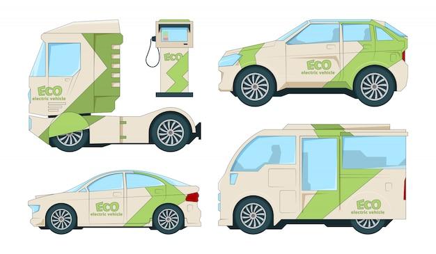 Eco electric automobiles. cartoon ecological transport on white Premium Vector