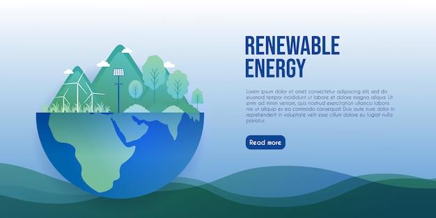 ランディングページのエコエネルギーと再生可能エネルギーのコンセプト Premiumベクター