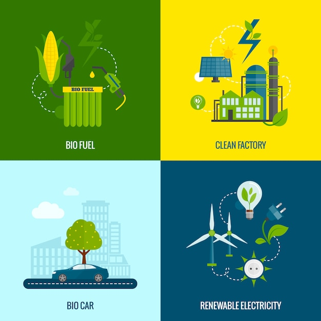 Eco energy flat icons composition Free Vector