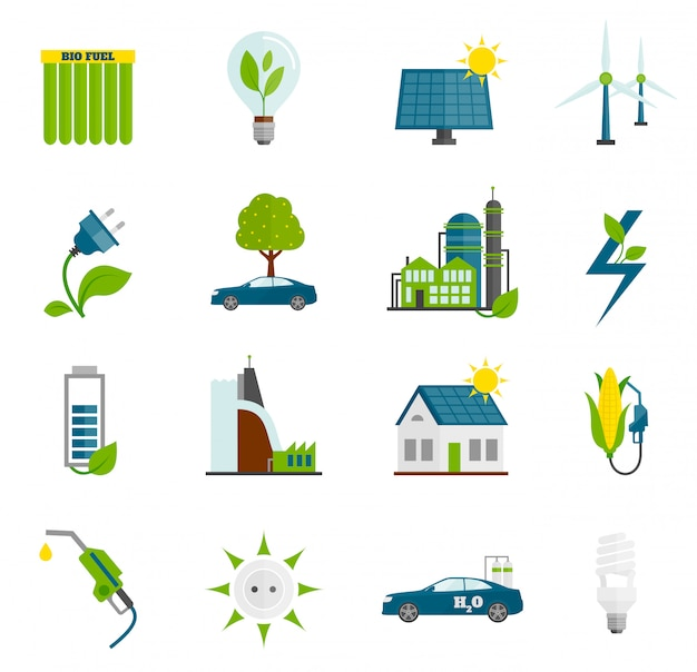 Eco energy flat icons Free Vector