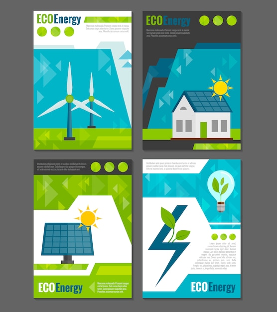 Eco energy icons poster Free Vector