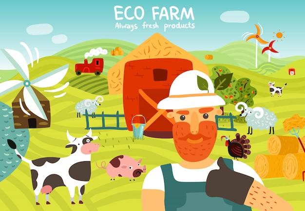 Eco farm composition Free Vector
