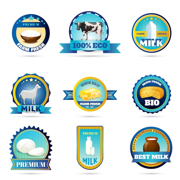 Eco farm milk dairy products labels Free Vector