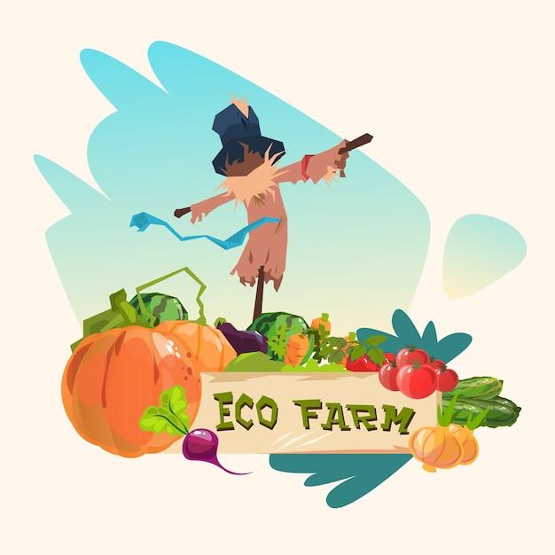 野菜のフィールドでの小休暇eco farming logo concept Premiumベクター
