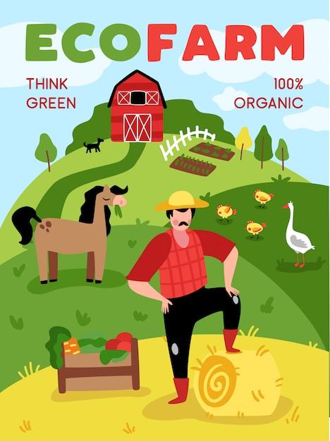 교외 농장 풍경과 텍스트 벡터 일러스트와 함께 동물의 낙서 스타일 구성으로 에코 농업 수직 포스터 무료 벡터