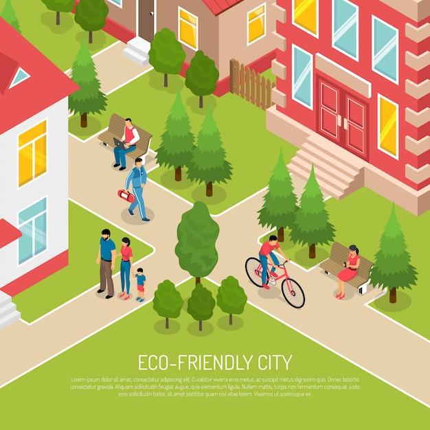 Eco friendly city isometric illustration Free Vector