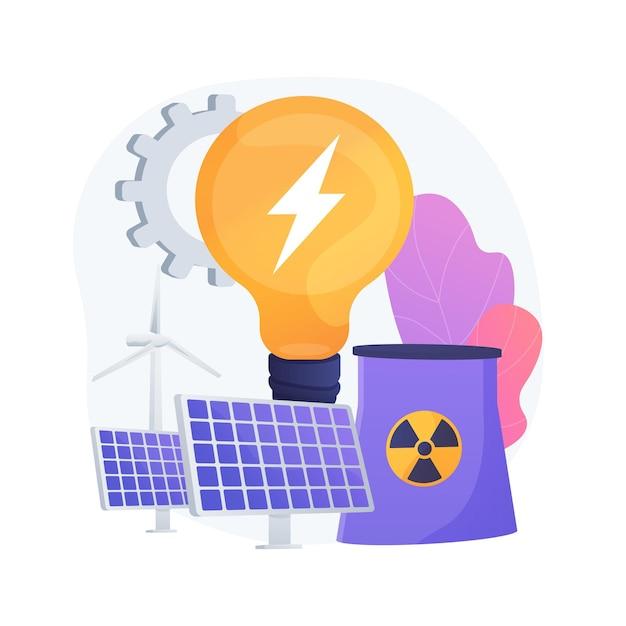 Elettricità ecologica. parco eolico, batterie solari, centrale nucleare. risorse energetiche sostenibili. tecnologie di generazione di elettricità verde. Vettore gratuito