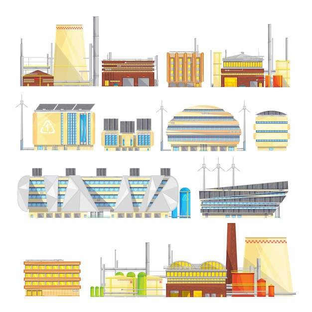 Eco friendly industrial facilities sustainable waste disposal with converting it Free Vector