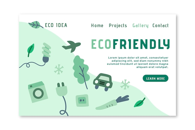 Eco friendly landing page Free Vector