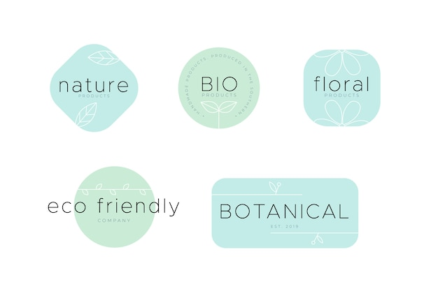 Eco-friendly natural business logo set Free Vector