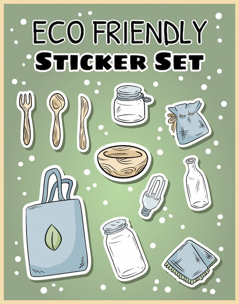 Eco friendly sticker set. ecological and zero-waste collection of labels. green living Premium Vector