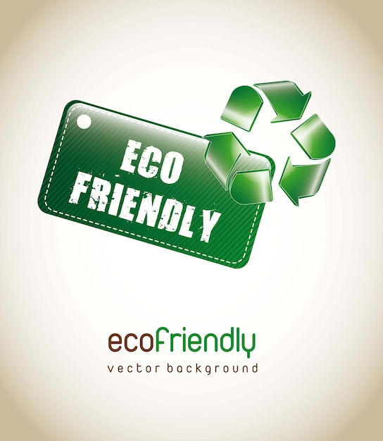Eco friendly tag with recycle sign over brown background. vector Premium Vector
