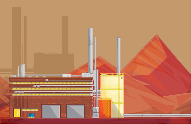 Eco friendly waste management industrial ore processing plant Free Vector