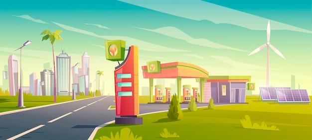 Stazione di servizio ecologica, servizio di rifornimento di auto urbane ecologiche, negozio di benzina rispettoso della natura con mulini a vento, pannelli solari, edificio e visualizzazione dei prezzi Vettore gratuito