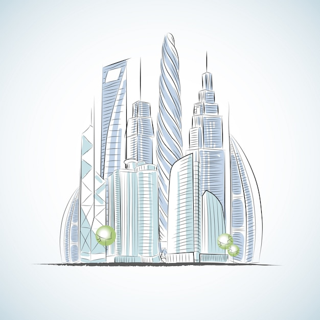 Eco green buildings icons of skyscrapers isolated sketch v Free Vector