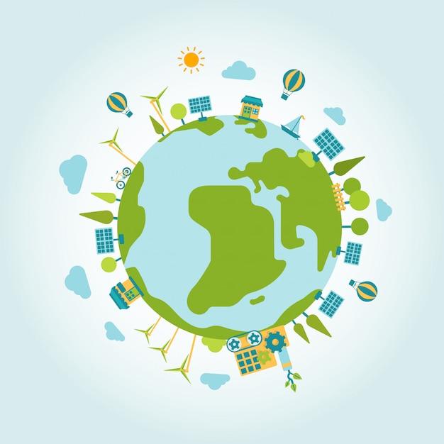 Eco green energy lifestyle planet world on globe flat illustration. ecology concept. Premium Vector