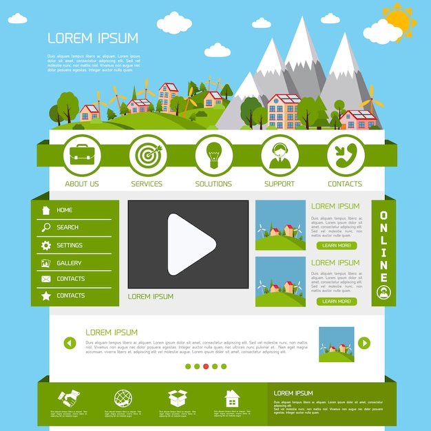 Eco green energy nature website design template\ layout interface vector illustration