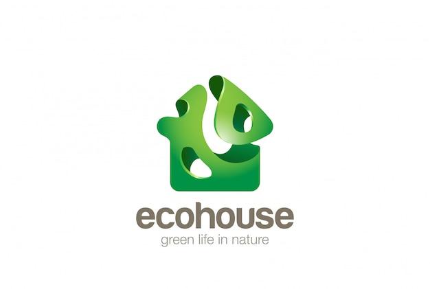 Eco green house logo design template bionic splash style. bio ecology home logotype concept icon. Premium Vector