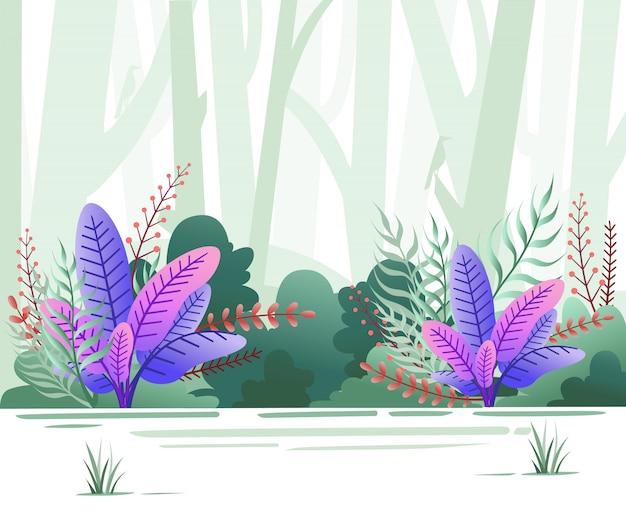 에코 녹색 자연 숲 배경 템플릿입니다. 나무와 새와 녹색 숲입니다. 삽화 프리미엄 벡터