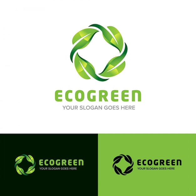 Eco green nature leaf 3d logo design vector icon Premium Vector