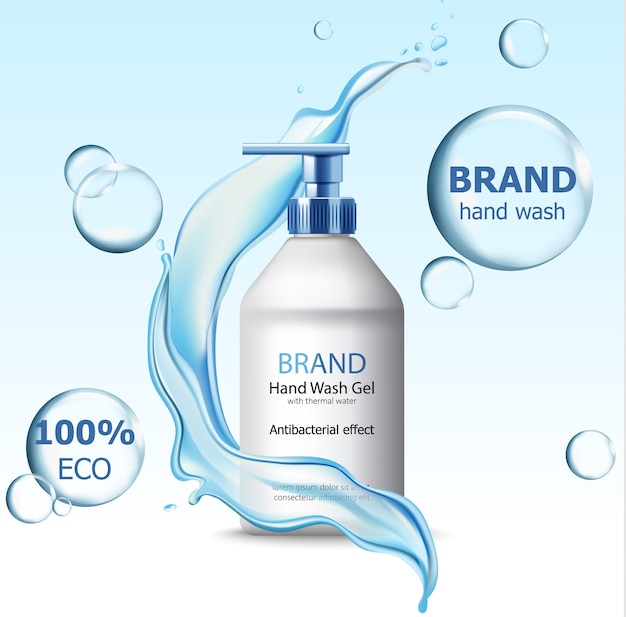 Eco hand wash gel with antibacterial effect container surrounded by bubbles and flowing water Free Vector
