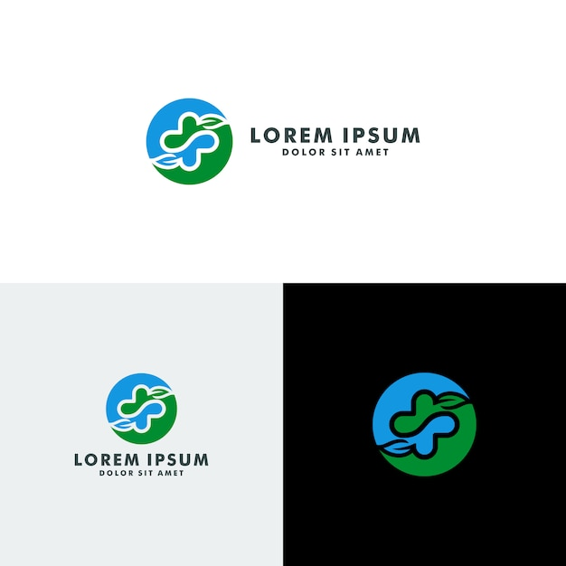 Eco health logo Premium Vector