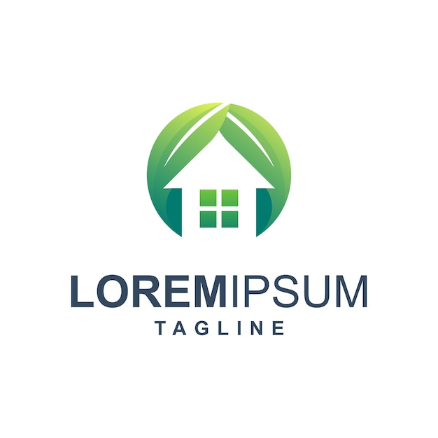 Eco home logo Premium Vector