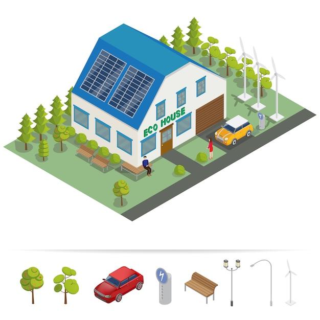 Eco house isometric building Premium Vector