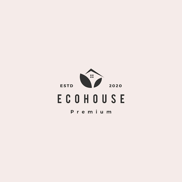 Eco house logo hipster retro vintage icon Premium Vector