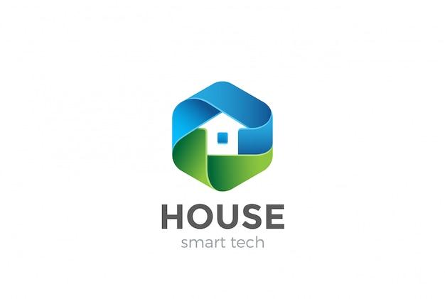 Eco house logo vector icon Premium Vector