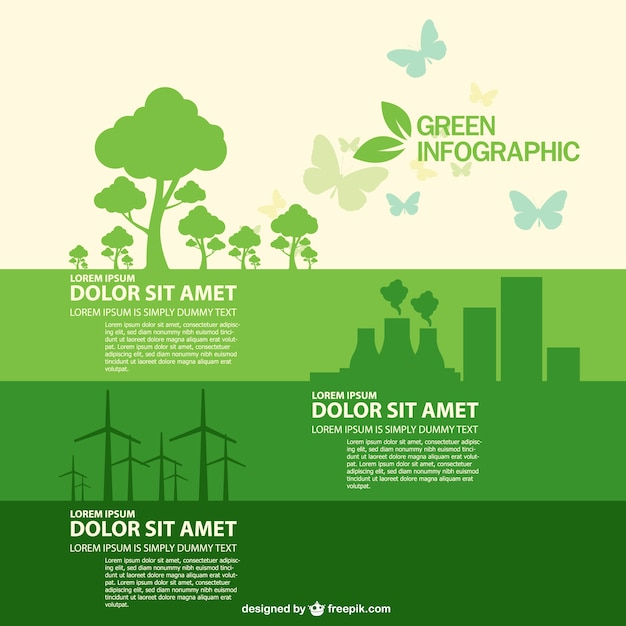 Eco infographic with green trees, nuclear power plant and windmills Free Vector