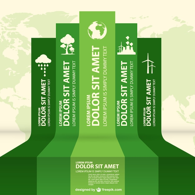 Eco infography labels design Free Vector
