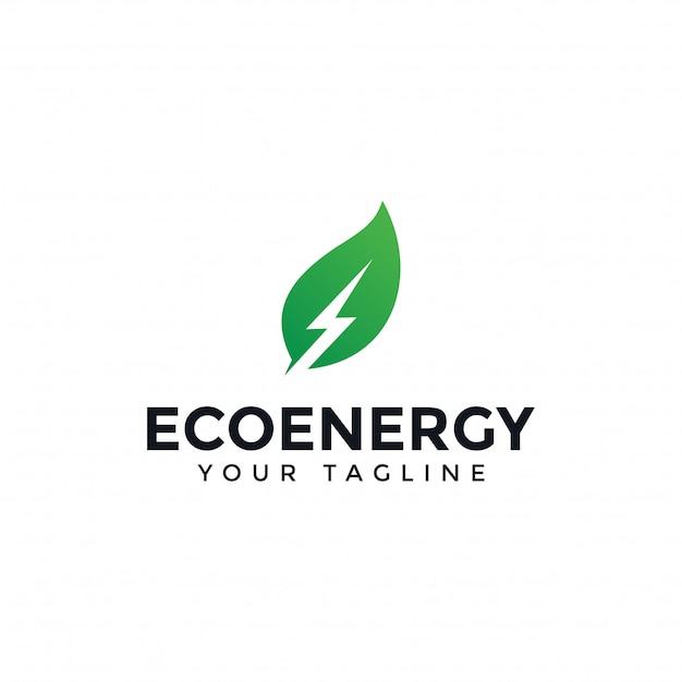 Eco leaf and power, renewable energy lightning bolt logo design template Premium Vector