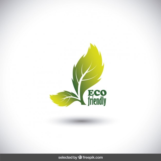 Eco logo made with two leaves Free Vector