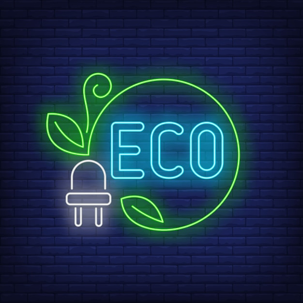 Eco neon lettering and power plug with green cord and leaves. Free Vector