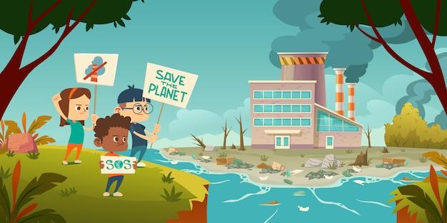 Eco protesta, bambini con sciopero del pianeta di salvataggio Vettore gratuito