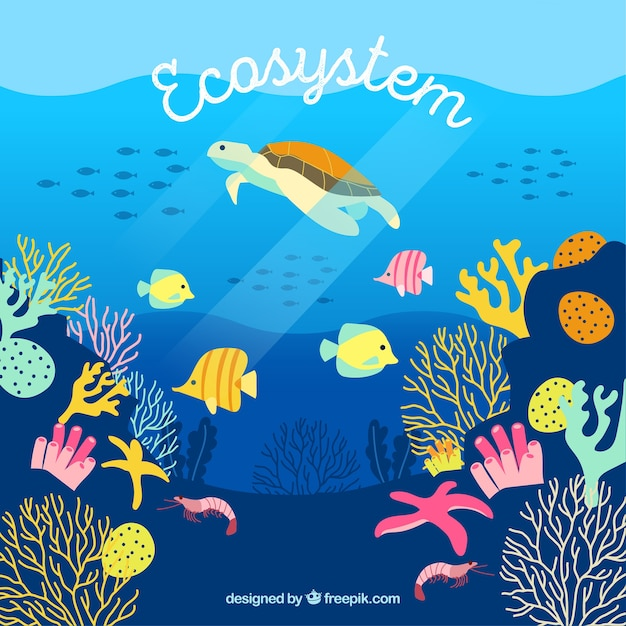 Eco system concept with turtle Free Vector