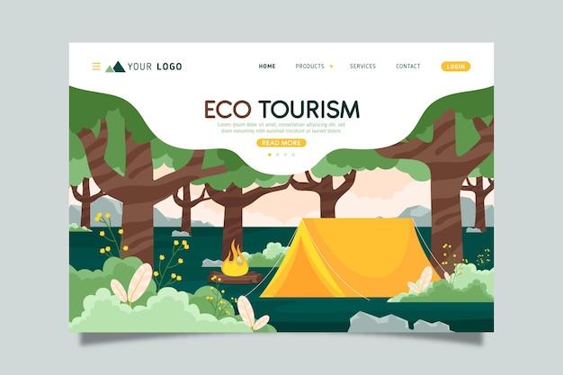 Целевая страница экологического туризма Бесплатные векторы