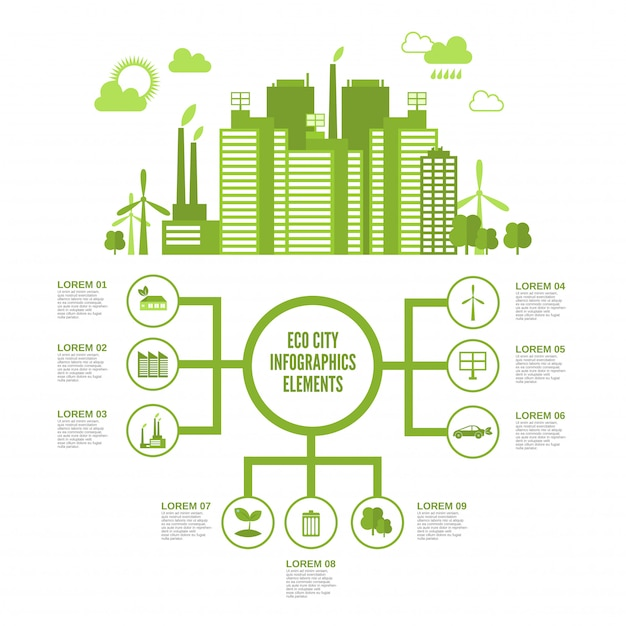 Eco town infographic Free Vector