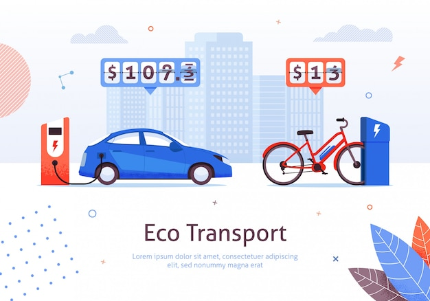 Eco transport and electric car  and e-bike charging station Premium Vector