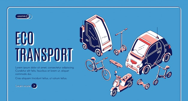 Eco transport isometric background Free Vector
